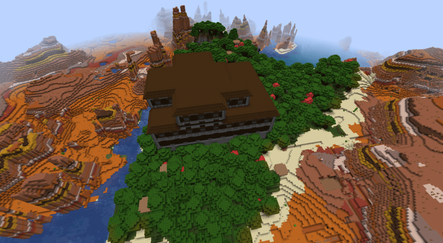 A woodland mansion locked in a Mesa Biome.