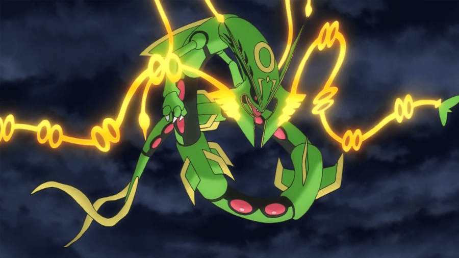 Image of a Mega Rayquaza in the Pokemon Anime.