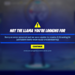 Display of server error code in Fortnite.
