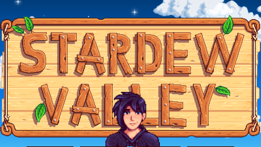 Sebastian in front of the Stardew Valley loading screen.