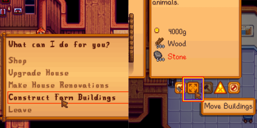 Two images showing you what to select to move your buildings.