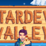 Shane in front of the Stardew Valley Logo.