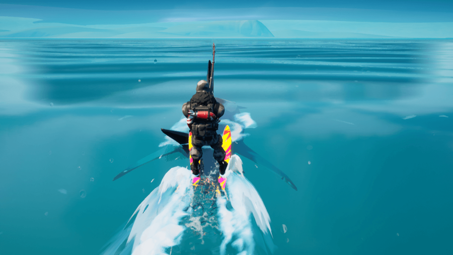 A fortnite player riding on a shark