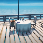 A fancy dinner for two at a table in Fortnite