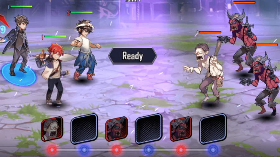 A screenshot of a battle happening in Hero Cantare