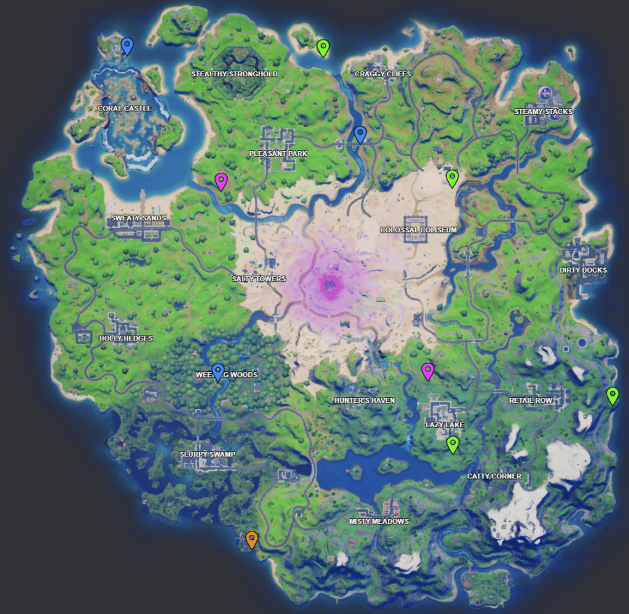 A screenshot from Fortnite showing where Week 10 XP coins are