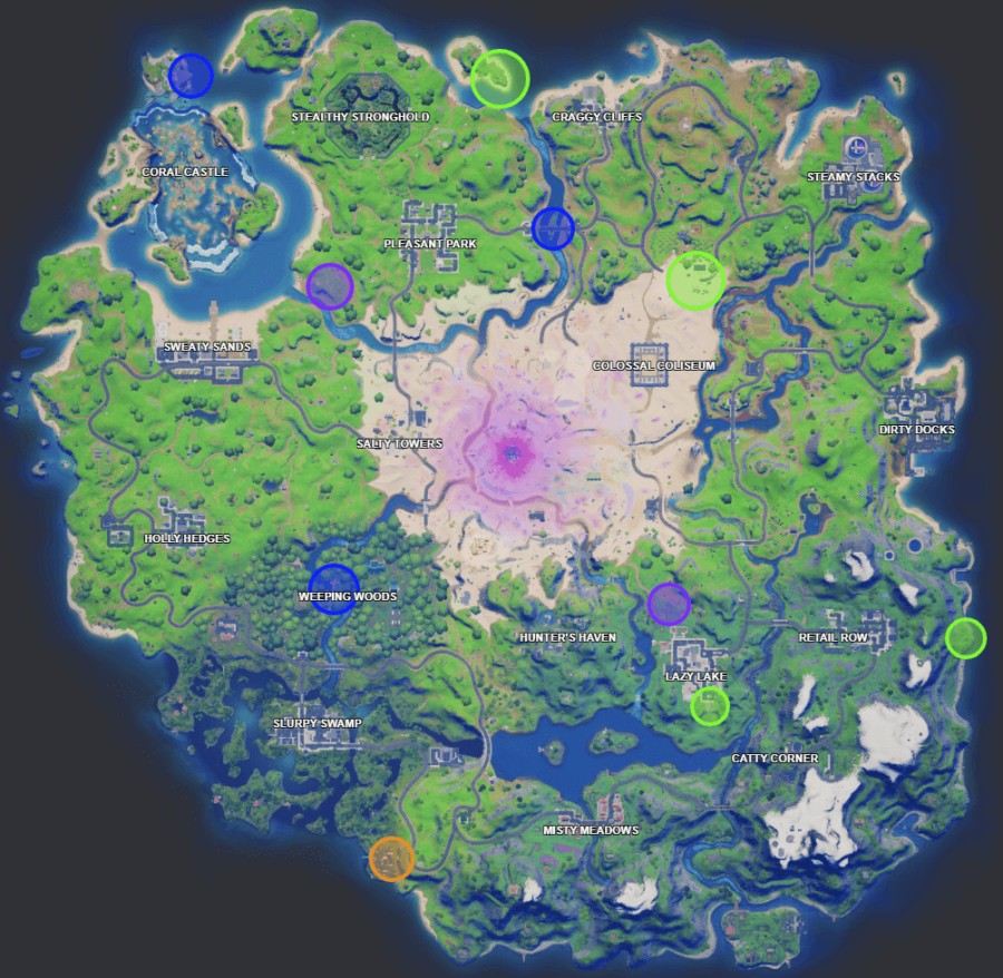 A screenshot from Fortnite showing where the Week 10 XP Coins are