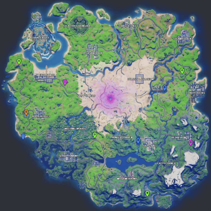 A screenshot from Fortnite showing where Week11 XP coins are