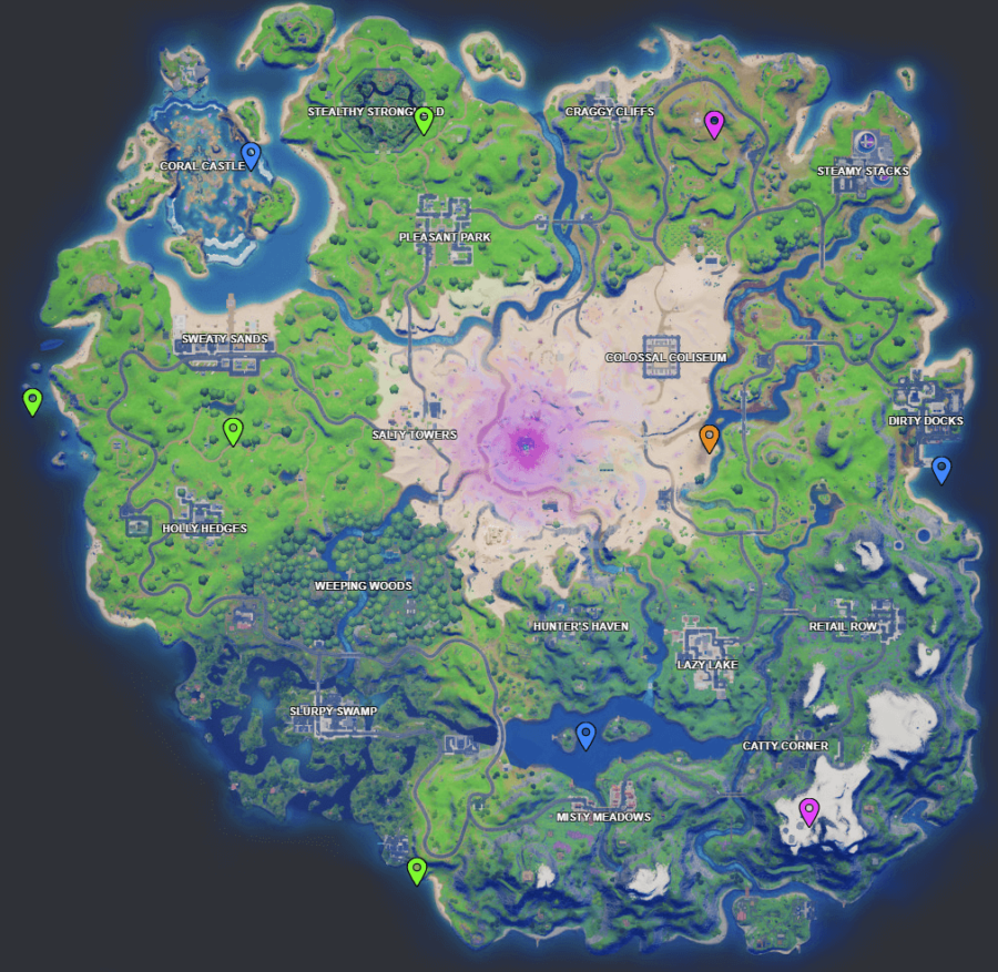 A screenshot from Fortnite showing where Week 7 XP coins are