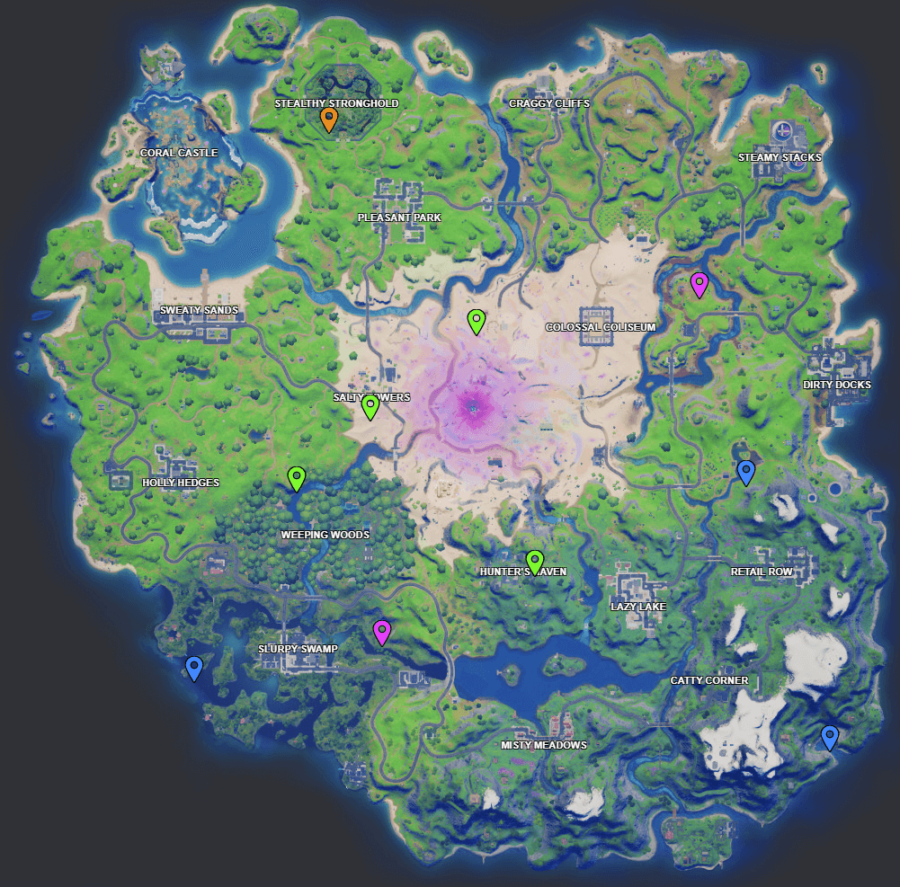 A screenshot from Fortnite showing where Week 8 XP coins are