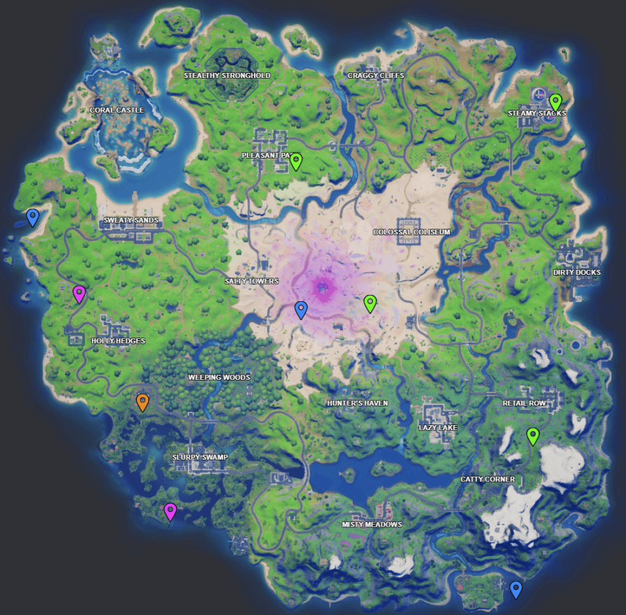 A screenshot from Fortnite showing where Week 9 XP coins are
