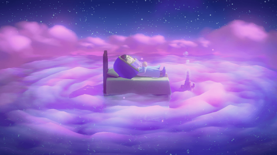 A character in Animal Crossing sleeping.
