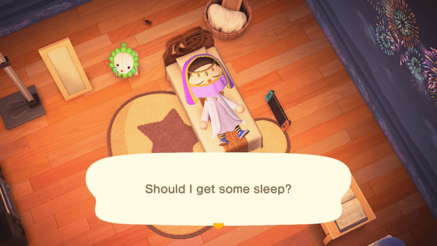 A character prompted to sleep in Animal Crossing.