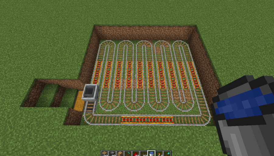 A screenshot of the rails placed for the melon farm.