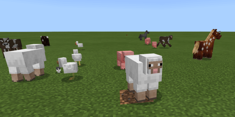 Several different Passive Minecraft Mobs.