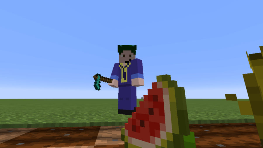 A screenshot of Barish looking at a melon