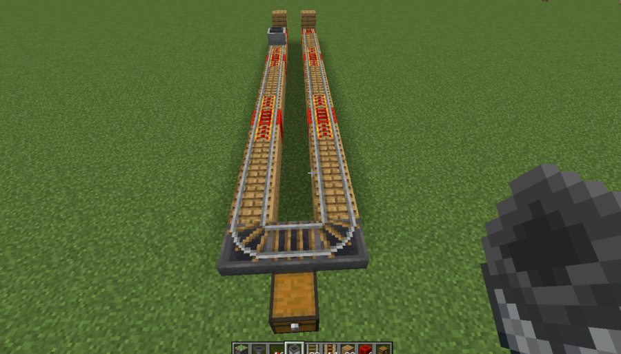 A screenshot of the placed rails on the mushroom farm.