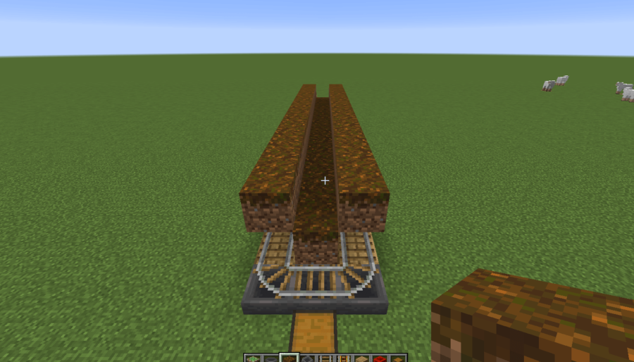 A screenshot of the placed podzol of the mushroom farm.