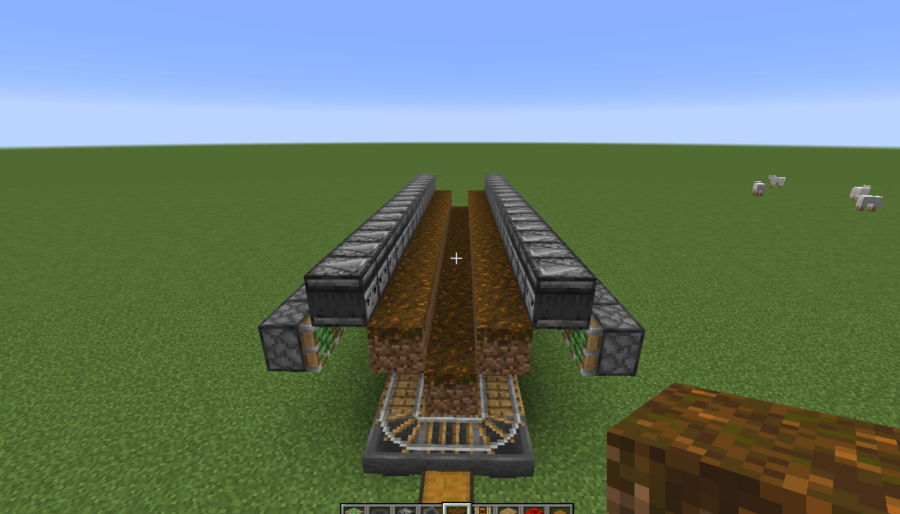 A screenshot of the placed Observers and Sticky Pistons.