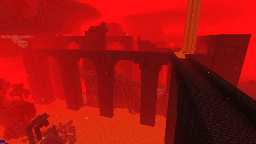 A Minecraft Nether Fortress lit up by Night Vision.