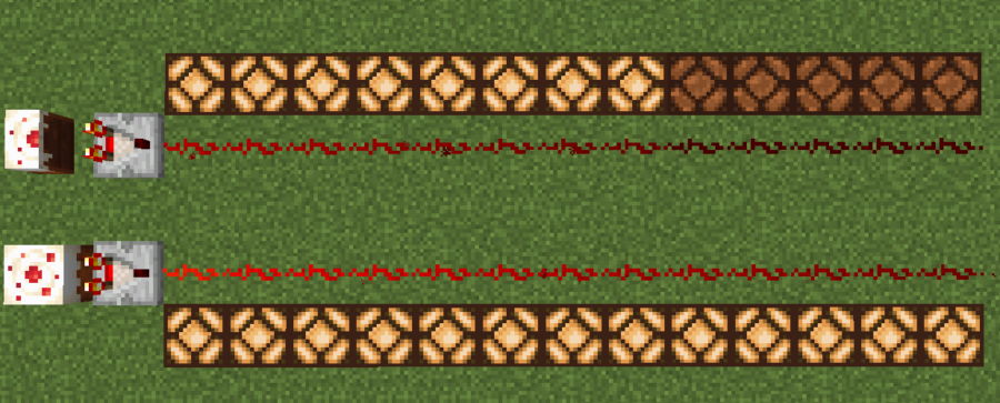 An example of a Redstone Comparator detecting a block state.