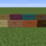 All Minecraft signs on display.