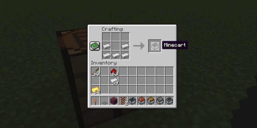 The recipe to make a minecart.