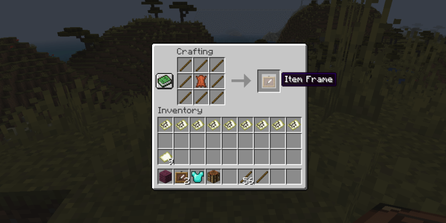 The Item Frame recipe in Minecraft.