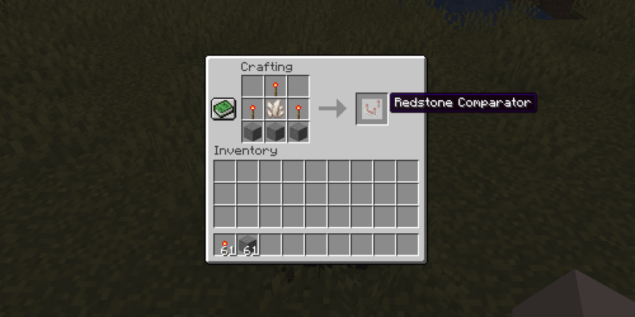 The crafting recipe for a Redstone Comparator.