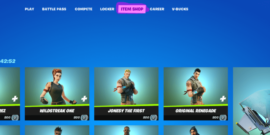 The item shop in Fortnite.