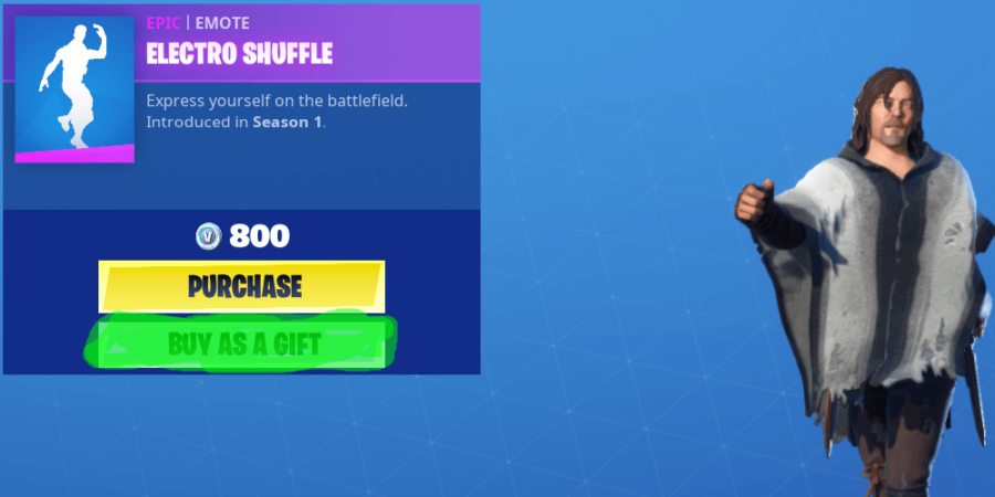 The item page screen in Fortnite.