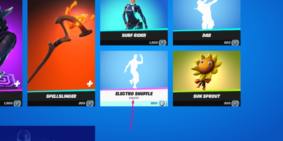 An item being selected in the item shop.