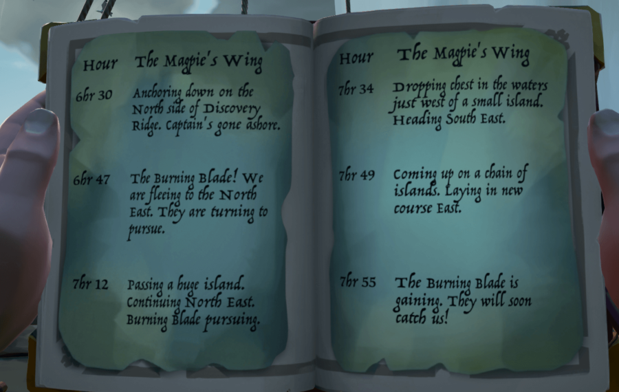 A book of directions in Sea of Thieves.