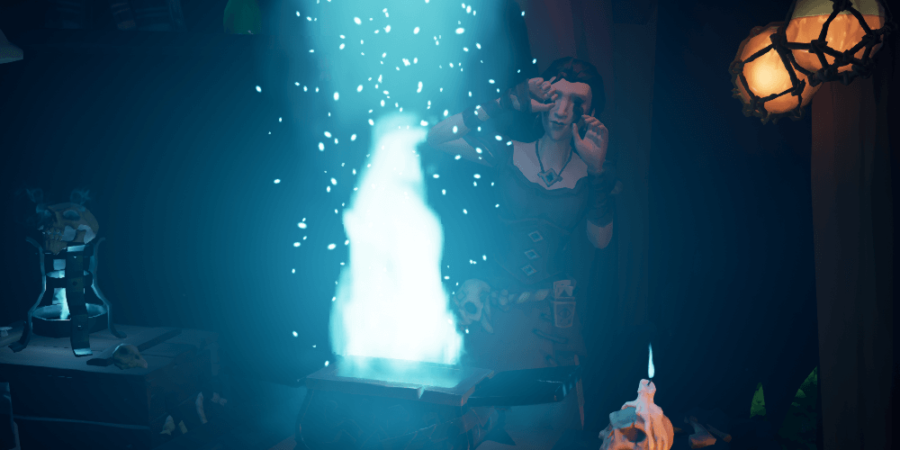 Madam Olivisa performing a spell on broken artifacts.