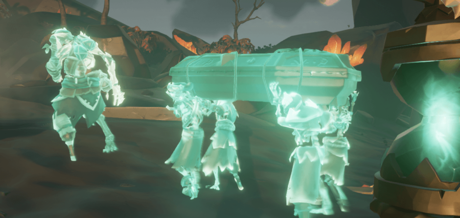 The spirit skeletons carrying the Ancient Skull coffin.