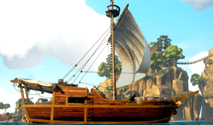 A sideview of a Sloop in Sea of Thieves.
