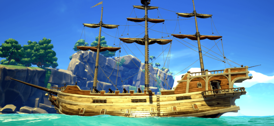 A sideview of a Galleon in Sea of Thieves.
