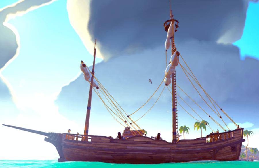 A sideview of a Brigantine in Sea of Thieves.