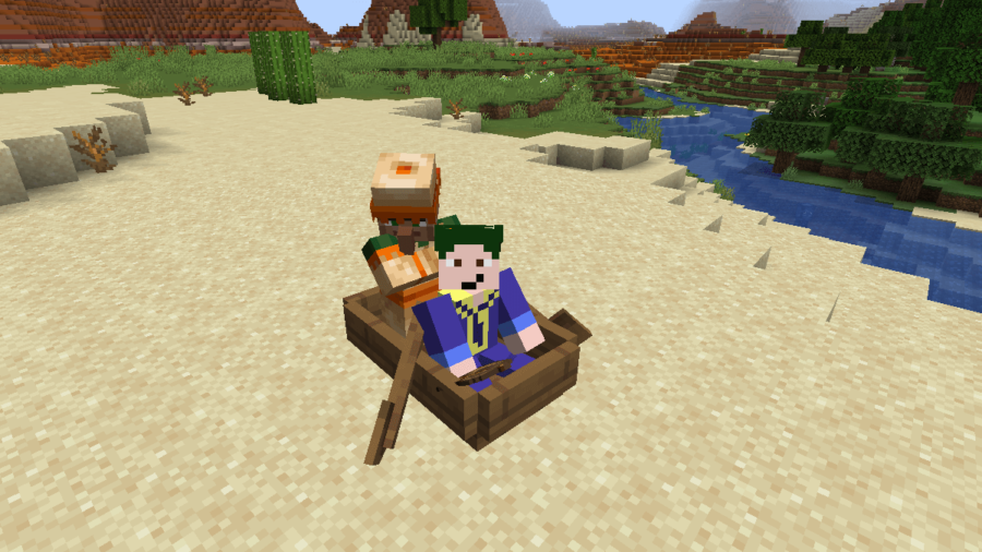 Riding in a boat with a Villager.