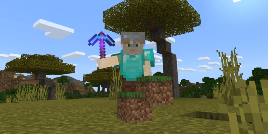 Minecraft Alex with a Silk Touch pickaxe.