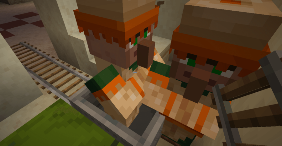 A villager giving their spouse a kiss goodbye.