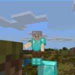 Minecraft Alex reaching for a Grass Block.