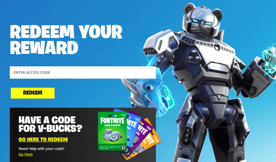 The redeem code page for Epic Games.