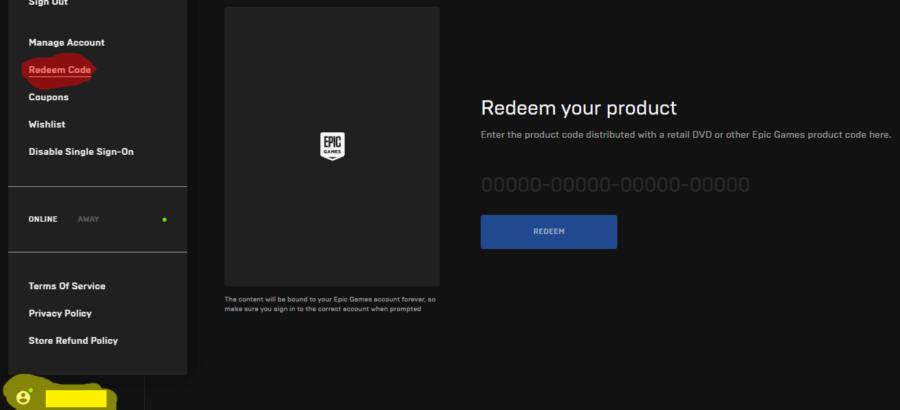The Epic Games Launcher redeem code button.