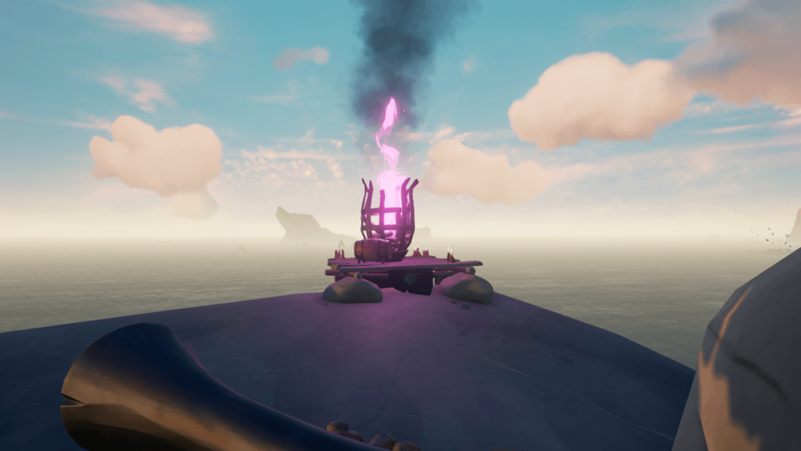 A screenshot of a purple beacon in Sea of Thieves.