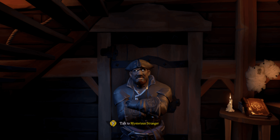 A Screenshot of the Masked Stranger in Sea of Thieves.