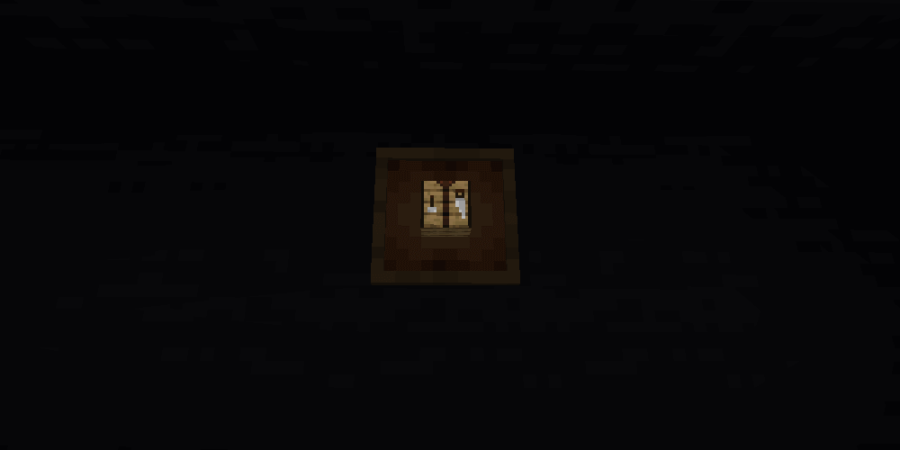 A screenshot of a glowing item frame in Minecraft.
