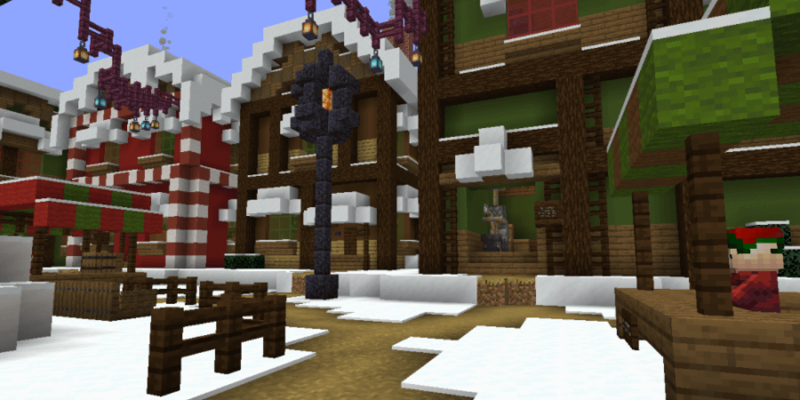 A screenshot of the Minecraft Map Trouble in Christmastown.