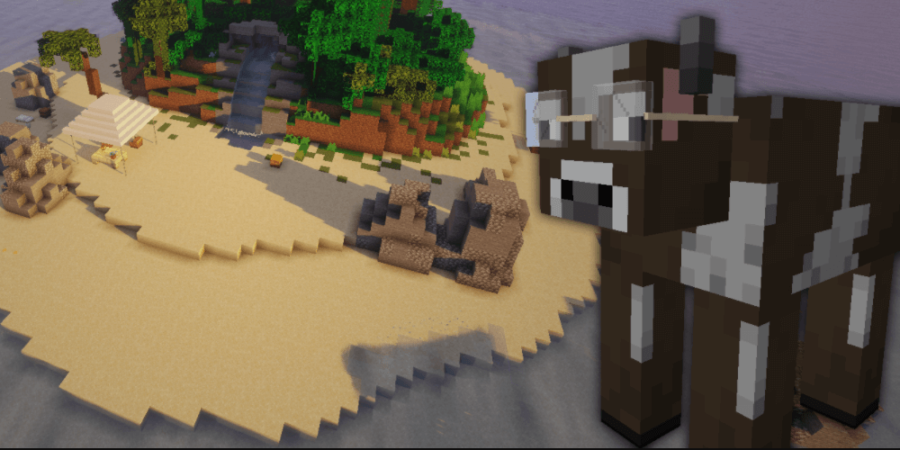 A Minecraft Cow with glasses in front of an island.