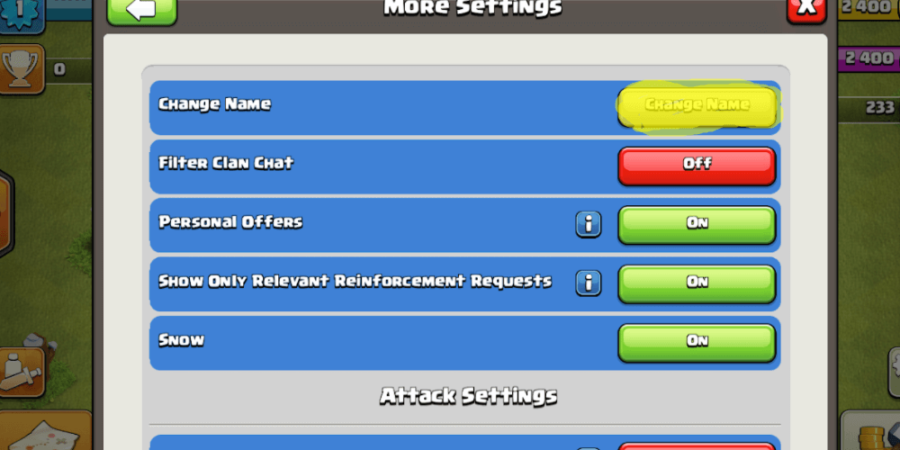 A screenshot of the more settings menu in clash of clans.